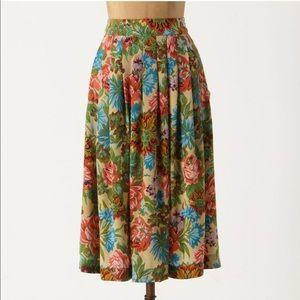 Anthropologie 100% Silk Printed Floral Midi Skirt